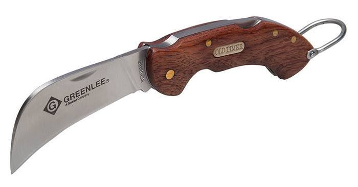 "FOLDING KNIFE, 2-5/8"" SS HAWK BILL, WOOD"