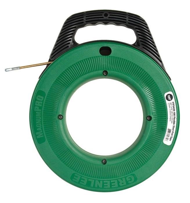Fishtape flexible steel 100 39 greenlee faster safer for Greenlee fish tape